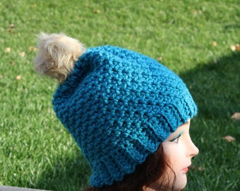 Ready to ship Cochet Hat,Textured Beanie,Turquoise Hat,Womens Winter Hat,Crochet slouch Hat,Beanie,Textured Slouchy,Handmade,Christmas