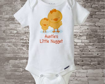 Cute little chicken nugget Onesie Bodysuit or Tee Shirt, Says Auntie's Little Nugget with baby chick. 06302015c