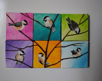 Adorable Mini Canvas Chickadee Magnets, Various Colors or Entire Set