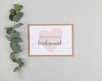 Thank You For Being My Bridesmaid Card - Bridesmaid Card - Bridesmaid Thank You Card - Cute Bridesmaid Card
