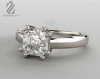 Asscher Cut Diamond Engagement Ring - Diamond Ring - Solitaire Ring - White Gold Ring  - Anniversary Ring - Wedding Ring - Bridal Ring