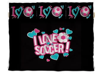 Daybed TWIN I Love Soccer Custom Bedding with 2 or 3 each Pillowcover Sham, Custom Design your Details, avail Reversible Double Side Design