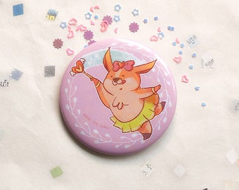Fairy pin, 56mm badge, cute button, dog, welsh corgi, animal, nori,  magic, pink, kawaii