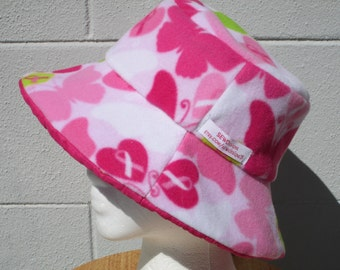 """Bucket hat 23"""" Breast Cancer Awareness  Reversible Pink Ribbons, Butterflies and Quilted Pink"""