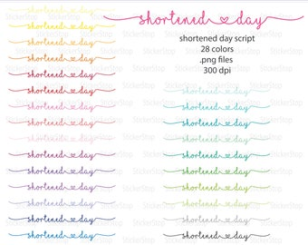 Shortened Day Script Icon Digital Clipart in Rainbow Colors - Instant download PNG files