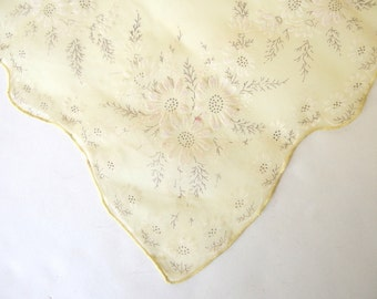 Vintage Handkerchief Sheer Yellow with Flocked Daisies