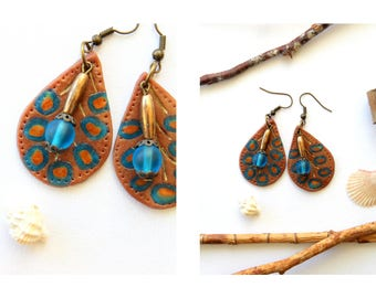 Earrings Handmodelling from Polymer Clay brown leaves