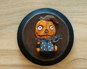 Pumpkinhead - Original Halloween Folk Art Clay Sculpture