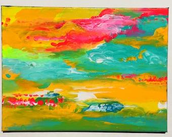 ATMOSPHERE 3 (Yellowsphere) original painting pop art meditation decor home mystic modern clouds sunset deco