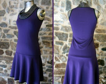 Promo empty workshop dress two-tone purple neck clams little Heather gray powder pink hearts.  Dress size 38 Retro
