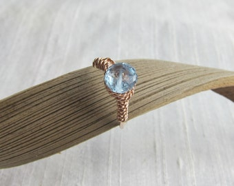Sky Blue Topaz 14K Rose Gold Filled Handmade Gem Wrapped Ring
