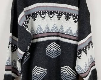TOWNCRAFT Vintage long length multi-colored geometric gray pink sweater sz XL
