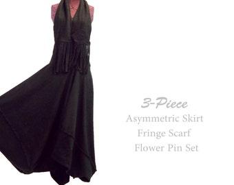 Sale Long Asymmetric Fleece Skirt and Matching Fringe Scarf Flower Pin L XL Large