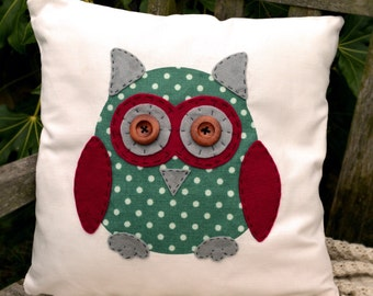 """Owl Cushion - Green, raspberry, grey, """"The Owls of Hoot"""" Collection, Tamsin Reed Designs"""