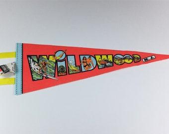 Vintage Wildwood, New Jersey, USA felt pennant - Vintage pennant - Retro pennant - Vintage souvenir flag - Souvenir pennant