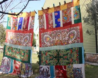 Boho Curtains, Hippie Curtain, Boho Chic Decor, Gypsy Curtain, Scarves Curtain, Large Curtain Panels, EXPRESS SHIPPING