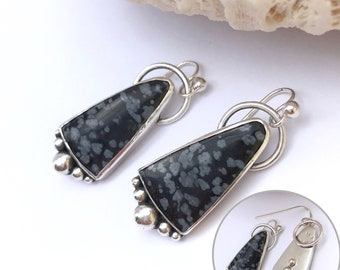 Snowflake Obsidian Earrings, Black Stone Dangles, Sterling Silver Artisan Silversmith Unique Design, White Dots