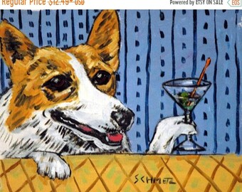 25% off CORGI , dog PRINT, martini,  dog prints, impressionism, modern , animals , artist, dog art