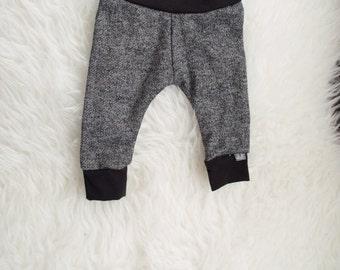 3-6 black and grey cuff pant. terry knit leggings. babies newborn infant pants. boy pants. girl pants. unisex pants