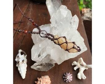 c i t r i n e • s t o n e ~ with  crystal & karnelian  bead ~