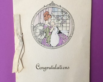 Antique 1920's New Baby Congratulations Greeting Card // Unsigned - Unmarked // Vintage Art Nouveau Art Deco