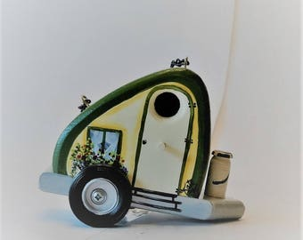 Whimsical , Decorative Green and Ivory Tear Drop Trailer Birdhouse , Original Design , Great For Decor , Handcrafted and Hand Painted