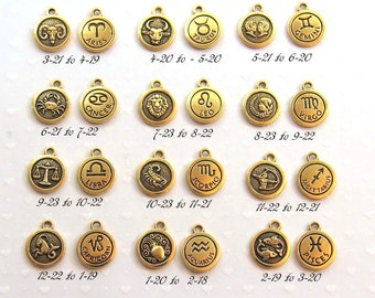 TierraCast Zodiac Sign Charms,  Double Sided Charms, You Pick Your Sign, Gold Plated Lead Free Pewter, 1 Or More