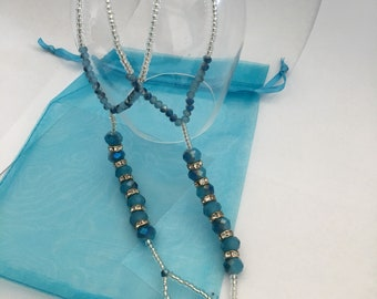 Shades of Blue Beaded Barefoot Sandals Beach,  wedding,  Barefoot Sandal, Anklet *FREE SHIPPING**