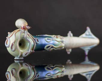 Octopus vs Squid Glass Pipe / Large Spoon Pipe / Tobacco Pipe Glass / Thick Wall Pipe / Heady Glass / You Choose the Color / Made to Order