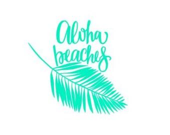 Aloha Beaches, Yeti decal, Cute Beach Decal