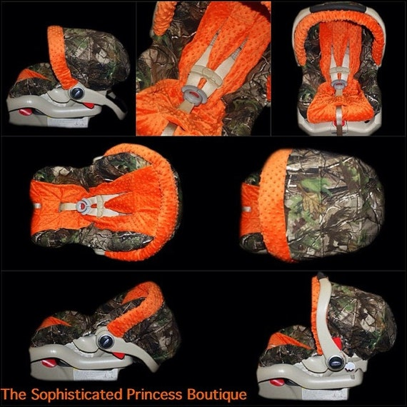 Realtree Camo With Orange Minky Infant Car Seat Cover