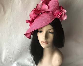 Hot pink Kentucky Derby hat,Derby fascinator,Hot Pink fascinator, Mother of the Bride hat,ladies church hat,Mother's Day tea party hat