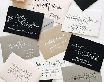 6 inch Square Envelope Brush Hand Lettering Watercolor Envelope Calligraphy