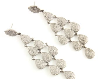 Pave Diamond Earrings, Pave Diamond Designer Drop Earrings, Diamond Drop Earrings, Diamond Fancy Earrings, Diamond Earrings (DER-114)