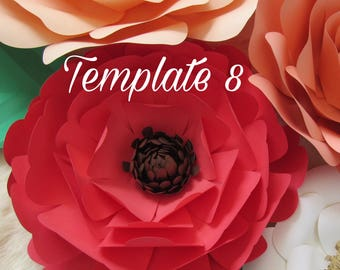 HARD COPY Template 8 Large  Paper Flower