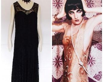 vintage 1920s black flapper dress / antique 20s gown / 20s black lace dress/ roaring 20s dress/ Gatsby dress