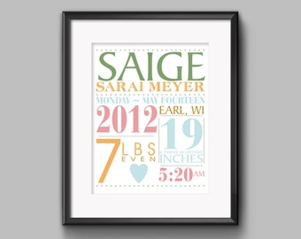 Baby Statistics Poster for Baby Announcement or Shower Gift