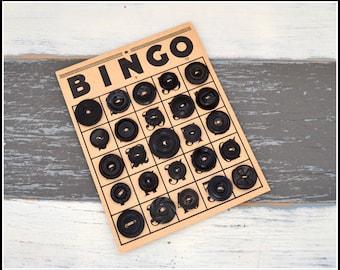 Black Vintage Buttons on Vintage Bingo Board - Vintage Buttons - Black Plastic Buttons - Button Card