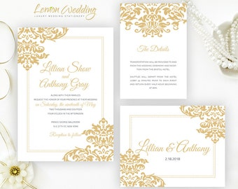 Gold wedding Invitation kits printed on white shimmer paper |  Discount wedding invitations, Info cards, RSVP cards.