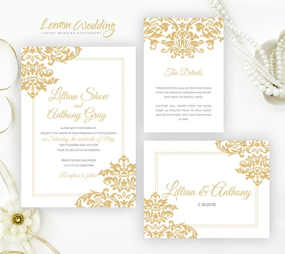 Gold wedding invitation kits printed on white shimmer paper filmwisefo