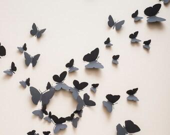 3D Wall Butterflies: 3D butterfly wall decals, paper butterflies in slate grey, modern decor