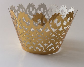 12 pcs Beautiful Shiny Gold Lace Damask Wedding Cupcake Liners Liner Baking Cup Cupcake Wrapper Wrappers Gold Cupcake Wrappers