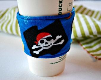 Pirate Coffee Cozy, Home and Living Cozy, Housewares Cozy Cup Cozy, Reusable Ecofriendly Cozy, Handmade Cozy, Fun Housewarming Gift