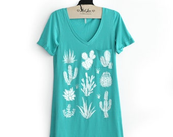 S,M, - Turquoise V- Neck Tee Tunic Dress with Cactus Design