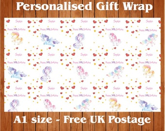 """Personalised Birthday Wrapping Paper """"Unicorn17"""" & 2 tags"""
