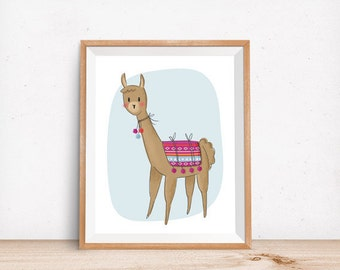 Llama, Digital Poster, Children's Wall Art, Modern Decor, Illustration, Alpaca, Kids' Decor, Nursery