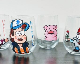 GRAVITY FALLS set of 4 (four) WINE glasses cartoon mabel dipper waddles and gnome