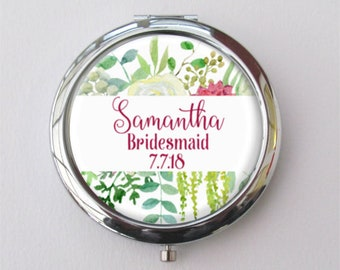Personalized Bridesmaid Gift, Custom Compact Mirror, Floral Pocket Mirror