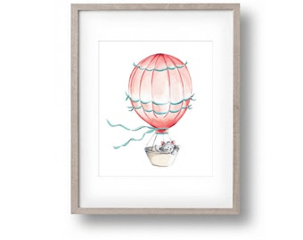 Hot Air Balloon, Coral Nursery, Aqua Nursery, Kitten, Baby nursery art, Whimsical Nursery Art, Children's Art, Print, Wall Decor