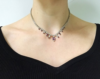 Vintage 1950s Paste Purple Crystal Necklace